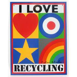 Sir Peter Blake lithograph on tin 'I Love Recycling'