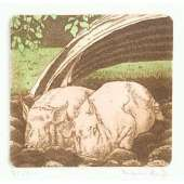 Laura Boyd hand coloured etching 'Pigs in Mud'