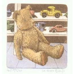 Laura Boyd hand coloured etching 'Teddy Bear'