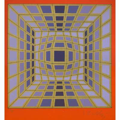 Victor Vasarely limited edition screen print 'Datta'